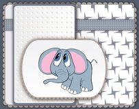 Cute baby elephant card in scrapbooking style Stock Photography