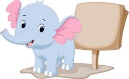 Cute baby elephant cartoon. With a blank sign Stock Photography