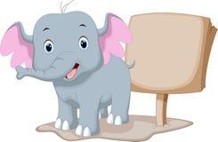 Cute baby elephant cartoon Stock Images