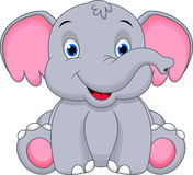 Cute baby elephant cartoon Stock Images