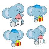 Cute baby elephant cartoon feeding bottle collection. Cute baby animal cartoon holding feeding bottle collectionin vector format very easy to edit stock illustration