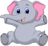 Cute baby elephant cartoon. Funny baby elephant with a white background Royalty Free Stock Photos