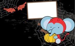 Cute baby elephant cartoon halloween costume background Royalty Free Stock Photography