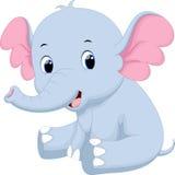 Cute baby elephant cartoon. Sitting royalty free illustration