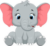 Cute baby elephant cartoon sitting Royalty Free Stock Images