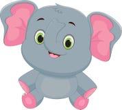 Cute baby elephant cartoon. Vector illustration of Cute Cute baby elephant cartoon isolated on white Royalty Free Stock Images