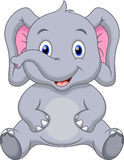 Cute baby elephant cartoon Stock Photography