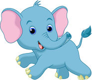 Cute baby elephant cartoon. With a white background Vector Illustration