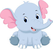 Cute baby elephant cartoon. Cute baby elephant with a white background Stock Image