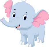 Cute baby elephant cartoon. Cute baby elephant with a white background Royalty Free Stock Image