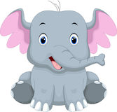 Cute baby elephant cartoon. Cute baby elephant with a white background Royalty Free Stock Images