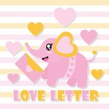 Cute baby elephant and love letter  cartoon illustration for Happy Valentine card design. Postcard, and wallpaper Royalty Free Stock Images
