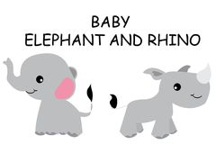 Cute baby elephant and rhino Stock Image
