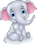 Cute baby elephant sitting isolated on white background Royalty Free Stock Images