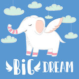 Cute baby elephant with wings on sky clouds background.hand drawn illustration.big Dream quote for baby t-shirt,fashion print desi. Gn,kids wear,baby shower Stock Photography