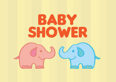 Cute Baby Elephants Vector Illustration for Baby Shower Royalty Free Stock Images