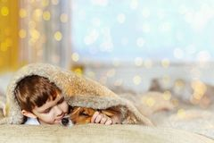 Cute baby embracing and sleeping under wool blanket. In early morning christmas day Stock Images