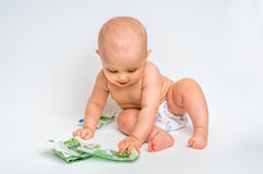 Cute baby with euro bills money - isolated on white Royalty Free Stock Images