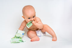 Cute baby with euro bills money - isolated on white Stock Photos