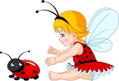 Cute baby fairy and ladybug Royalty Free Stock Photos