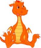 Cute baby fire dragon cartoon. Illustration of cute baby fire dragon cartoon Royalty Free Stock Image