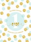 Cute baby first birthday card with golden glitter confetti for your decoration. Birthday card with metallic texture dots. Can be used as banner, flyer, card Stock Images