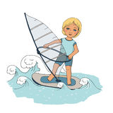 Cute baby floating on the waves windsurfing. Cute picture painted by hand in cartoon-style Royalty Free Stock Photos