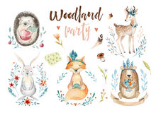 Cute baby fox, deer animal nursery rabbit and bear isolated illustration for children. Watercolor boho forestdrawing. Watercolour, hedgehog image Perfect for