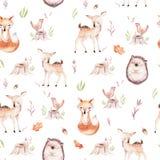 Cute baby fox, deer animal nursery rabbit and bear isolated illustration pattern. Watercolor boho forest drawing. Cute baby fox, deer animal nursery rabbit and Vector Illustration