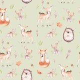 Cute baby fox, deer animal nursery rabbit and bear isolated illustration pattern. Watercolor boho forest drawing. Cute baby fox, deer animal nursery rabbit and Royalty Free Illustration