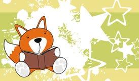 Cute baby fox reading cartoon background Royalty Free Stock Photography