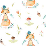 Cute baby foxes animal seamless pattern for kindergarten, nurser. Y isolated  illustration for children clothing. Watercolor Hand drawn boho image Perfect for Royalty Free Stock Photo