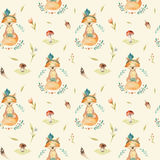 Cute baby foxes animal seamless pattern for kindergarten, nurser. Y isolated  illustration for children clothing. Watercolor Hand drawn boho image Perfect for Stock Image