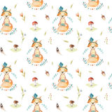 Cute baby foxes animal seamless pattern for kindergarten, nurser. Y isolated  illustration for children clothing. Watercolor Hand drawn boho image Perfect for Royalty Free Stock Photos