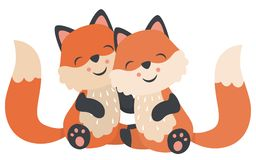 Cute Baby Foxes Hugging Sitting Valentines Day Flat Vector Illustration Isolated on White. All elements are grouped together logically and easy to edit vector illustration