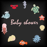 Cute baby frame in a marine style on a black background. Baby background. The template for the album or scrapbook. Baby vector illustration Royalty Free Stock Images