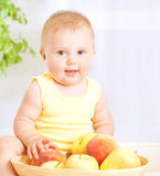 Cute baby with fruits Stock Photography