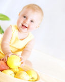 Cute baby with fruits Royalty Free Stock Image