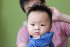 Cute Baby Funny Look Camera with his father Stock Photos