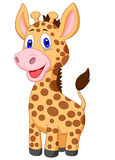 Cute baby giraffe cartoon Stock Images