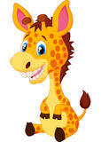 Cute baby giraffe cartoon Stock Photos