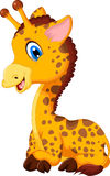 Cute baby giraffe cartoon sitting Royalty Free Stock Photo