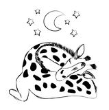 Cute baby giraffe sleeping with a plush and a pacifier for celebrating new birth. Hand drawn monochrome vector illustration isolated on white background for Royalty Free Stock Photography