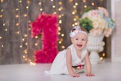 Free Cute Baby Girl 1-2 Year Old Sitting On Floor With Pink Balloons In Room Over White. Isolated. Birthday Party. Celebration. Happy B Royalty Free Stock Photo - 91798745