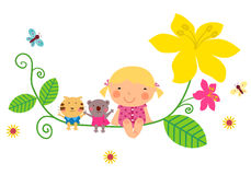 Cute baby girl and animals. Illustration of cute baby girl and animals Stock Images