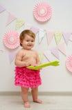 Cute baby girl anniversary Stock Photos