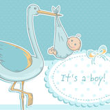 Cute baby girl announcement card with stork and ch. Ild on polka dot pink background Stock Photos