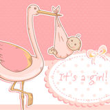 Cute baby girl announcement card with stork and ch. Ild on polka dot pink background Royalty Free Stock Photos