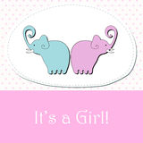 Cute baby girl arrival announcement card Stock Photos