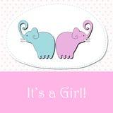 Cute baby girl arrival announcement card. Vector cute hand drawn style elephants - baby girl arrival announcement Stock Photos